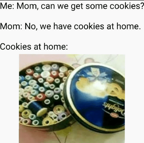 Cookies, Home, and Mom: Me: Mom, can we get some cookies?  Mom: No, we have cookies at home  Cookies at home: