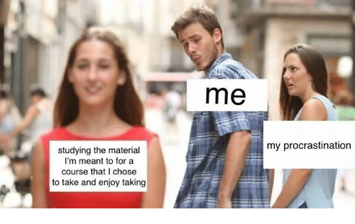 Procrastination, For, and Chose: me  my procrastination  studying the material  I'm meant to for a  course that I chose  to take and enjoy taking