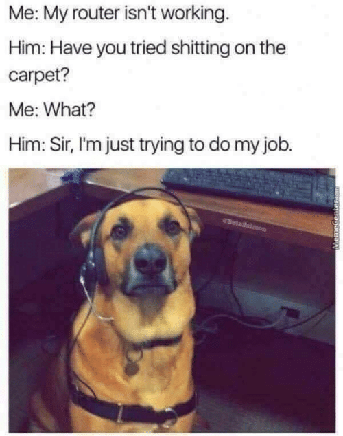 Router, Job, and Working: Me: My router isn't working  Him: Have you tried shitting on the  carpet?  Me: What?  Him: Sir, I'm just trying to do my job.