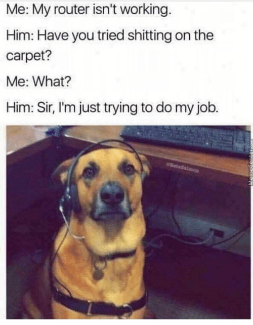 Router: Me: My router isn't working.  Him: Have you tried shitting on the  carpet?  Me: What?  Him: Sir, l'm just trying to do my job.