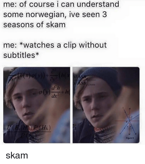 Memes, Norwegian, and 🤖: me: of course i can understand  some norwegian, ive seen 3  seasons of skam  me  watches a clip without  subtitles*  23101 skam