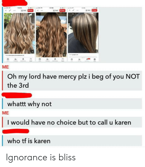Ignorance: ME  Oh my lord have mercy plz i beg of you NOT  the 3rd  whattt why not  ME  I would have no choice but to call u karen  who tf is karen Ignorance is bliss