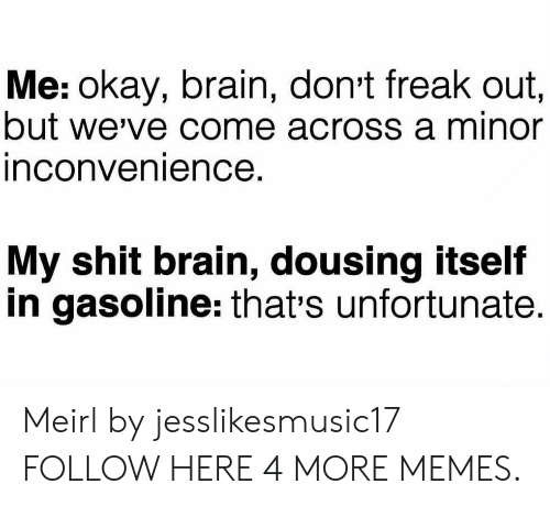 Minor Inconvenience: Me: okay, brain, don't freak out,  but we've come across a minor  inconvenience  My shit brain, dousing itself  in gasoline: that's unfortunate. Meirl by jesslikesmusic17 FOLLOW HERE 4 MORE MEMES.