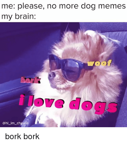Dogs, Love, and Memes: me: please, no more dog memes  my brain:  i love dogs  @hi_im_chewie bork bork