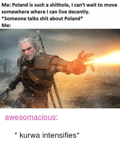 """Shit, Tumblr, and Blog: Me: Poland is such a shithole, I can't wait to move  somewhere where I can live decently.  *Someone talks shit about Poland*  Me: <p><a href=""""http://awesomacious.tumblr.com/post/170226220199/kurwa-intensifies"""" class=""""tumblr_blog"""">awesomacious</a>:</p>  <blockquote><p>* kurwa intensifies*</p></blockquote>"""
