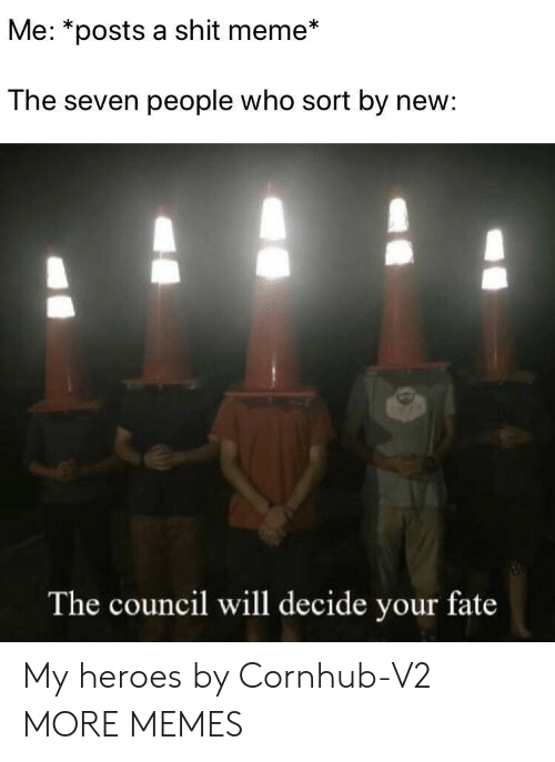 Cornhub: Me: *posts a shit meme*  The seven people who sort by new:  The council will decide your fate My heroes by Cornhub-V2 MORE MEMES