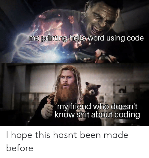 "Printing: me printing heloword using code  ""my friend who doesn't  know shit about coding I hope this hasnt been made before"