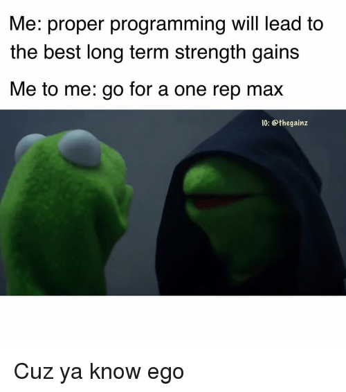 Memes, Best, and Programming: Me: proper programming will lead to  the best long term strength gains  Me to me: go for a one rep max  IC: @thegainz Cuz ya know ego
