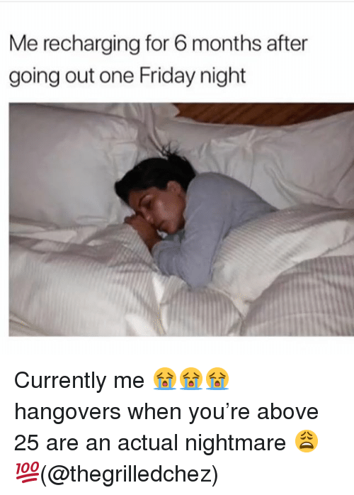 Friday, Memes, and 🤖: Me recharging for 6 months after  going out one Friday night Currently me 😭😭😭 hangovers when you're above 25 are an actual nightmare 😩💯(@thegrilledchez)