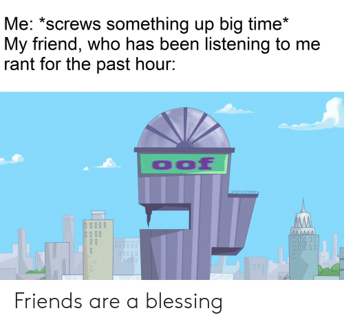 Friends, Time, and Dank Memes: Me: *screws something up big time*  My friend, who has been listening to me  rant for the past hour:  eeeeee  IIIII Friends are a blessing