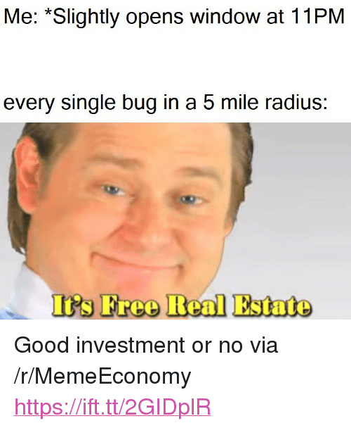 "Good, Real Estate, and Single: Me: *Slightly opens window at 11PM  every single bug in a 5 mile radius  I's Freo Real Estate <p>Good investment or no via /r/MemeEconomy <a href=""https://ift.tt/2GIDplR"">https://ift.tt/2GIDplR</a></p>"