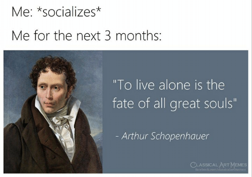 """Classical: Me: *socializes*  Me for the next 3 months:  """"To live alone is the  fate of all great souls""""  Arthur Schopenhauer  CLASSICAL ARTMEMES  facebook.com/classicalartmemes"""