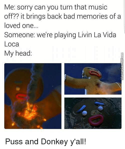 Pussing: Me: sorry can you turn that music  off?? it brings back bad memories of a  loved one...  Someone: we're playing Livin La Vida  Loca  My head Puss and Donkey y'all!