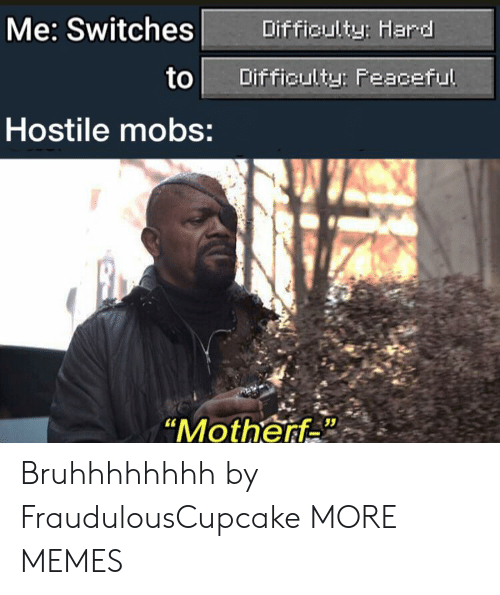 "Switches: Me: Switches  Difficulty: Hard  to  Difficulty: Feaceful  Hostile mobs:  ""Motherf Bruhhhhhhhh by FraudulousCupcake MORE MEMES"