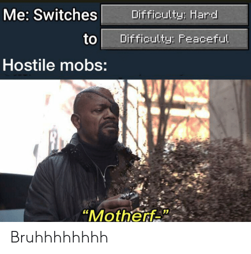 "Switches: Me: Switches  Difficulty: Hard  to  Difficulty: Peaceful  Hostile mobs:  ""Motherf Bruhhhhhhhh"