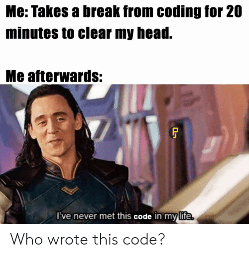 Wrote: Me: Takes a break from coding for 20  minutes to clear my head.  Me afterwards:  I've never met this code in my life Who wrote this code?
