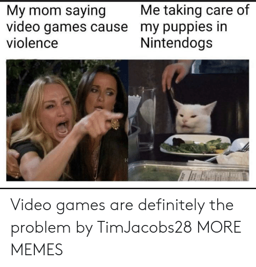 Puppies: Me taking care of  My mom saying  video games cause my puppies in  violence  Nintendogs Video games are definitely the problem by TimJacobs28 MORE MEMES