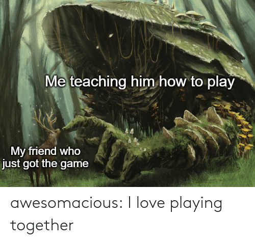 my friend: Me teaching him how to play  My friend who  just got the game awesomacious:  I love playing together