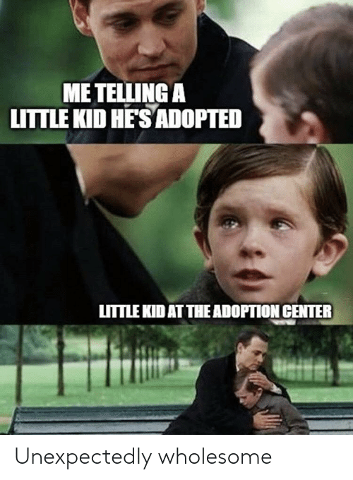 Adoption: ME TELLING A  LITTLE KID HE'S ADOPTED  LITTLE KID AT THE ADOPTION CENTER Unexpectedly wholesome