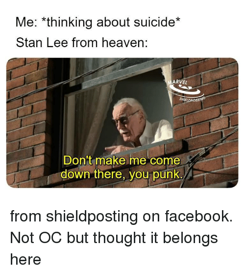 Facebook, Heaven, and Stan: Me: *thinking about suicide*  Stan Lee from heaven:  ARVEL  SHIELDPOSTING  Don't make me come  down there, you punk. from shieldposting on facebook. Not OC but thought it belongs here
