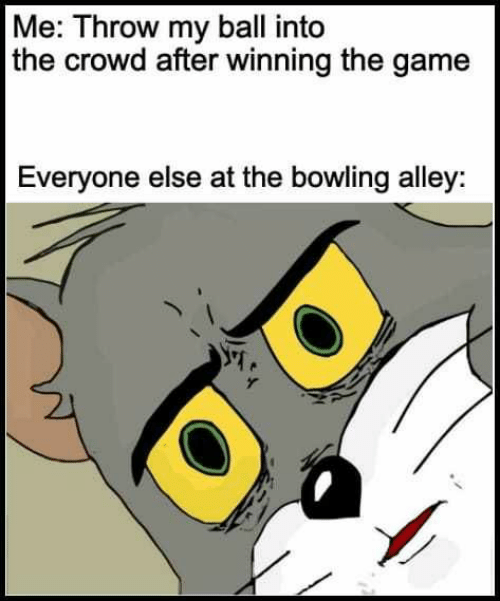 Memes, The Game, and Game: Me: Throw my ball into  the crowd after winning the game  Everyone else at the bowiling alley: