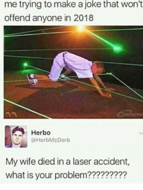 Dank, What Is, and Wife: me to a won't  trying  make  joke  that  offend anyone in 2018  Herbo  @HerbMcDerb  My wife died in a laser accident,  what is your problem?????????
