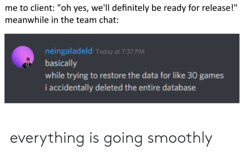 "database: me to client: ""oh yes, we'll definitely be ready for release!""  meanwhile in the team chat:  neingaladeld Today at 7:37 PM  basically  while trying to restore the data for like 30 games  i accidentally deleted the entire database everything is going smoothly"