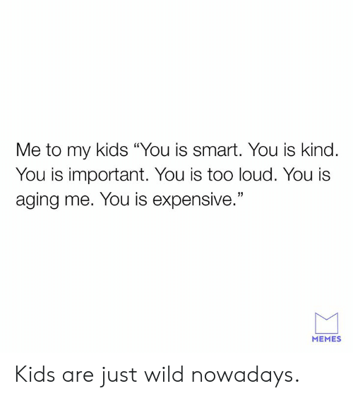 """Dank, Memes, and Kids: Me to my kids """"You is smart. You is kind.  You is important. You is too loud. You i:s  aging me. You is expensive.""""  MEMES Kids are just wild nowadays."""