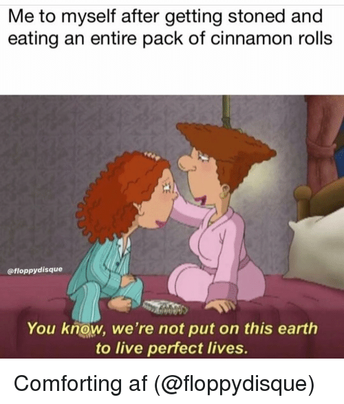 Af, Earth, and Grindr: Me to myself after getting stoned and  eating an entire pack of cinnamon rolls  @floppydisque  You know, we're not put on this earth  to live perfect lives. Comforting af (@floppydisque)