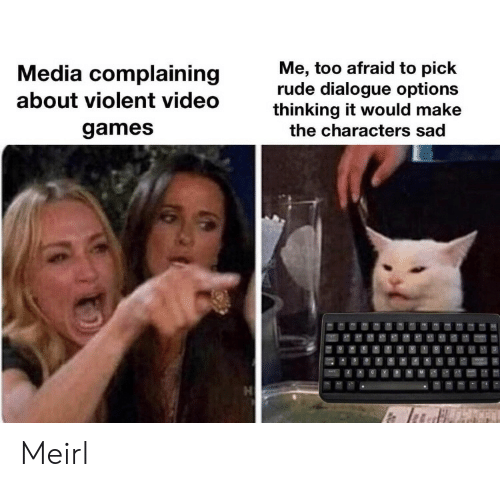 Rude, Video Games, and Games: Me, too afraid to pick  rude dialogue options  thinking it would make  Media complaining  about violent video  games  the characters sad  H  CFN Meirl