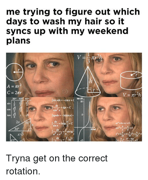 Weekend Plans: me trying to figure out which  days to wash my hair so it  syncs up with my weekend  plans  3  C=2tr  300 45 60°  Jsai  sin xdx -cosx +C  10  cos χ  tan  2x60  dx  30°  Bad  a +  b b-4ac Tryna get on the correct rotation.
