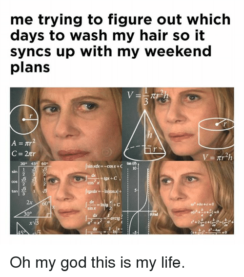 Weekend Plans: me trying to figure out which  days to wash my hair so it  syncs up with my weekend  plans  C=2nr  2  300 45 60°  tin()  i 10  sin  cos |-  tan!  2  cos x  3  2x/160。  sinx  30° Oh my god this is my life.