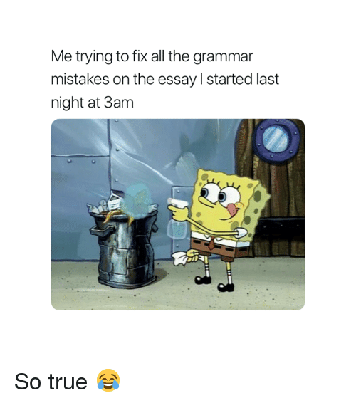 True, Mistakes, and All The: Me trying to fix all the grammar  mistakes on the essay l started last  night at 3am So true 😂