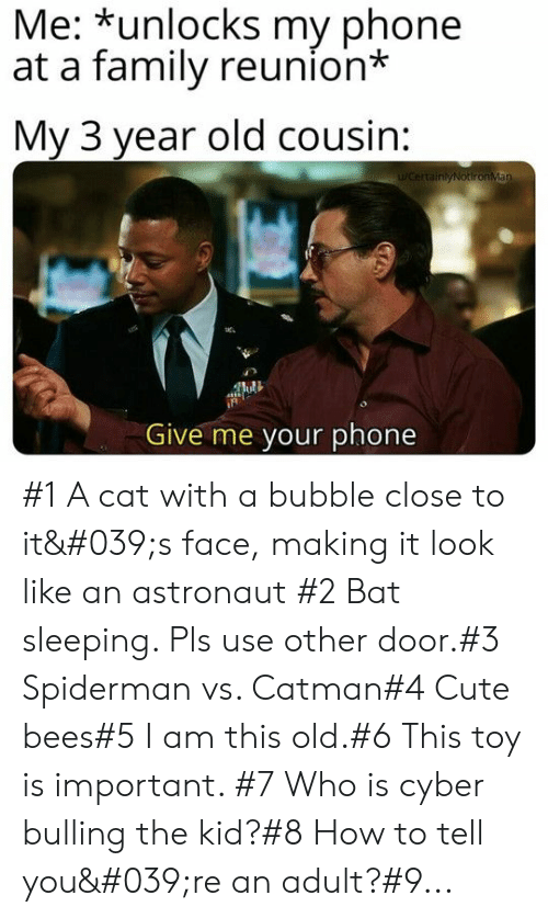 reunion: Me: *unlocks my phone  at a family reunion*  My 3 year old cousin:  WCertainlyNotironMan  Give me your phone #1 A cat with a bubble close to it's face, making it look like an astronaut #2 Bat sleeping. Pls use other door.#3 Spiderman vs. Catman#4 Cute bees#5 I am this old.#6 This toy is important. #7 Who is cyber bulling the kid?#8 How to tell you're an adult?#9...