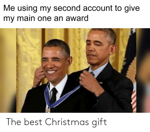 award: Me using my second account to give  my main one an award The best Christmas gift