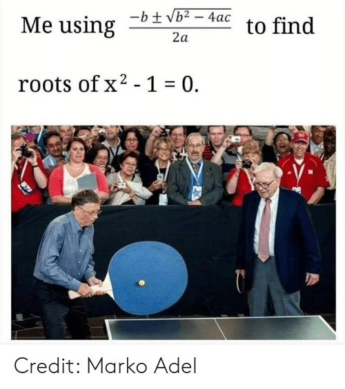 Memes, 🤖, and Roots: Me using  to find  2a  roots ofx2 -1 0. Credit: Marko Adel