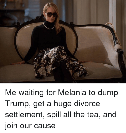 Trump, Divorce, and Waiting...: Me waiting for Melania to dump Trump, get a huge divorce settlement, spill all the tea, and join our cause