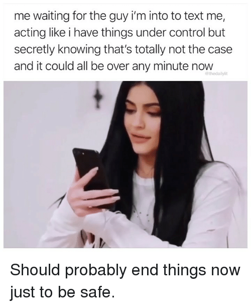 Memes, Control, and Text: me waiting for the guy i'm into to text me,  acting like i have things under control but  secretly knowing that's totally not the case  and it could all be over any minute now  @thedailylit Should probably end things now just to be safe.