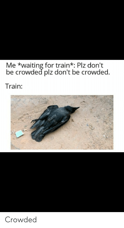 Train, Waiting..., and For: Me *waiting for train*: Plz don't  be crowded plz don't be crowded.  Train:  alamy Crowded