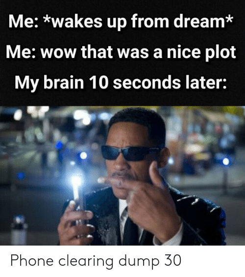 Phone, Wow, and Brain: Me: *wakes up from dream*  Me: wow that was a nice plot  My brain 10 seconds later: Phone clearing dump 30