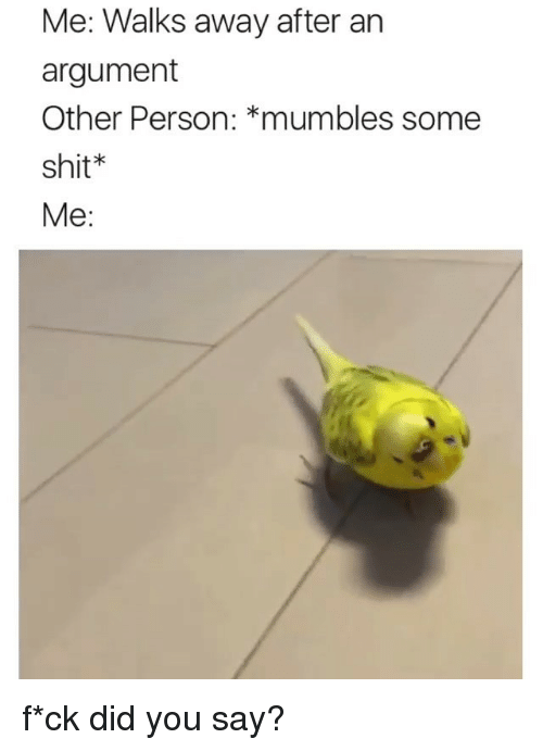 mumbles: Me: Walks away after an  argument  Other Person: *mumbles some  shit*  Me: f*ck did you say?
