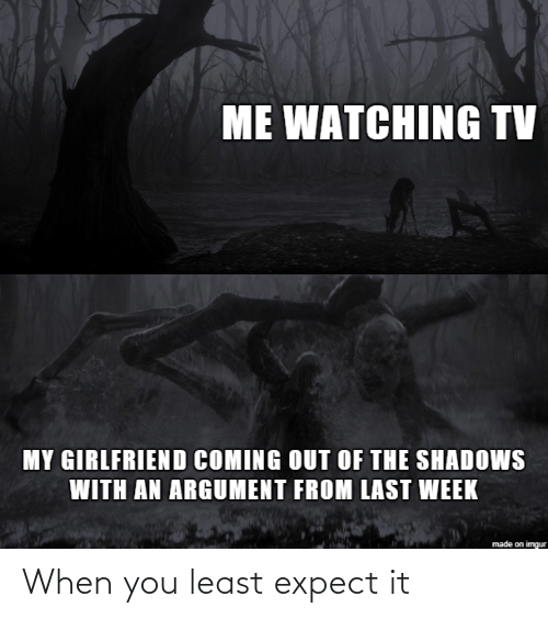 Imgur, Girlfriend, and You: ME WATCHING TV  MY GIRLFRIEND COMING OUT OF THE SHADOWS  WITH AN ARGUMENT FROM LAST WEEK  made on imgur When you least expect it