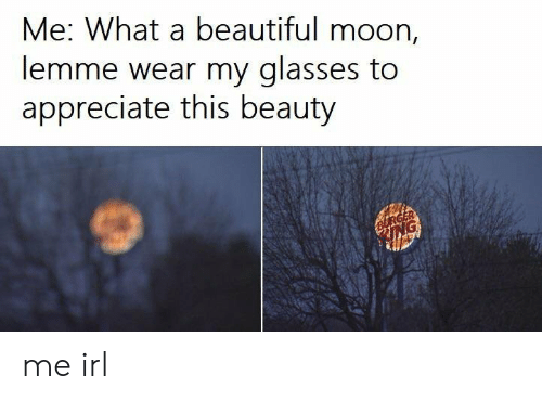 Beautiful, Appreciate, and Glasses: Me: What a beautiful moon,  lemme wear my glasses to  appreciate this beauty me irl