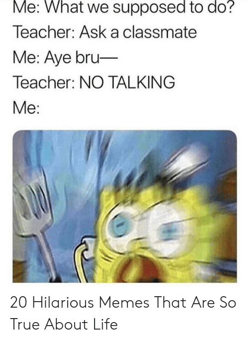 Life, Memes, and Teacher: Me: What we supposed to do?  Teacher: Ask a classmate  Me: Aye bru-  Teacher: NO TALKING  Me: 20 Hilarious Memes That Are So True About Life