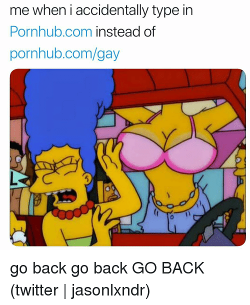 Pornhub, Twitter, and Grindr: me when i accidentally type in  Pornhub.com instead of  pornhub.com/gay go back go back GO BACK (twitter | jasonlxndr)