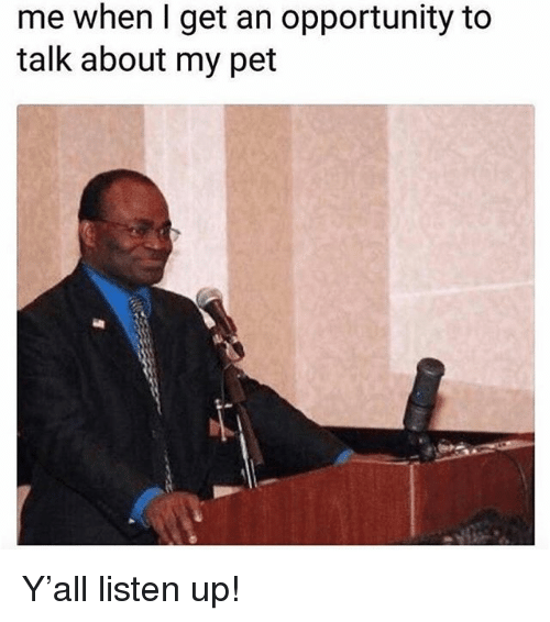 Memes, Opportunity, and 🤖: me when I get an opportunity to  talk about my pet Y'all listen up!