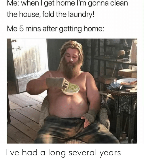 Dank, Laundry, and Home: Me. when I get home l'm gonna clean  the house, fold the laundry!  Me 5 mins after getting home: I've had a long several years