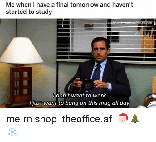 Af, Memes, and Work: Me when I have a final tomorrow and haven't  started to study  Il  don't want to work  I just want to bang on this mug all day me rn shop ➵ theoffice.af 🎅🏻🎄❄️
