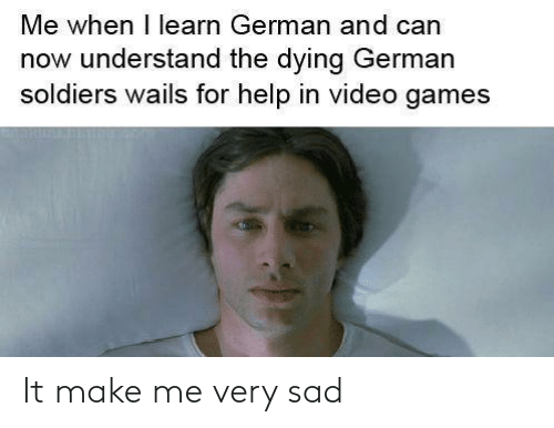 Video Games: Me when I learn German and can  now understand the dying German  soldiers wails for help in video games It make me very sad