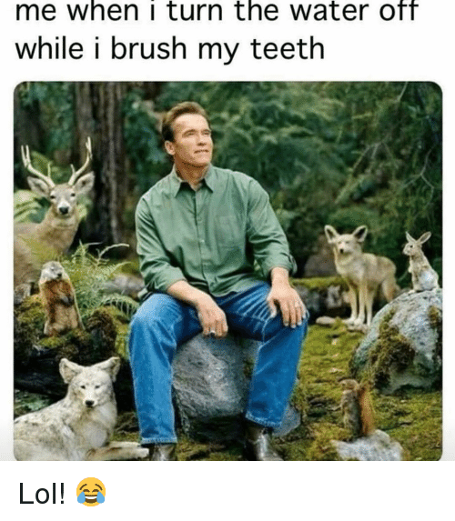 Lol, Memes, and Water: me when i turn the water Off  while i brush my teeth Lol! 😂